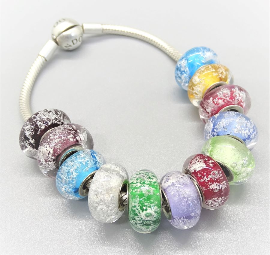 Cremation Charm Birthstone Keepsake Bead with Sterling Silver Core